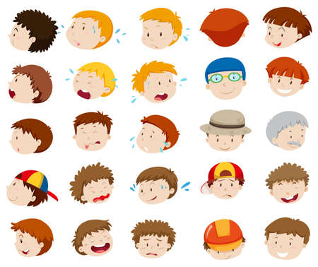 feelings and emotions: Male faces with different emotions illustration
