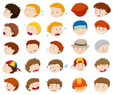 emociones: rostros masculinos con diferentes emociones ilustración Vectores