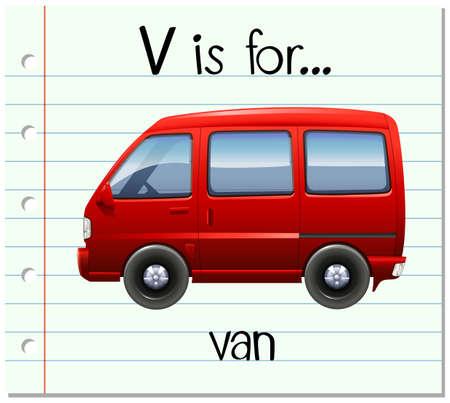 Flashcard letter V is for van illustration