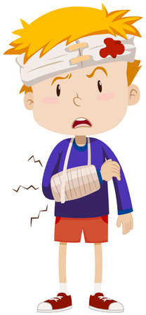 accident: Boy having head and arm injury illustration