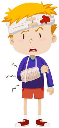 head injury: Boy having head and arm injury illustration