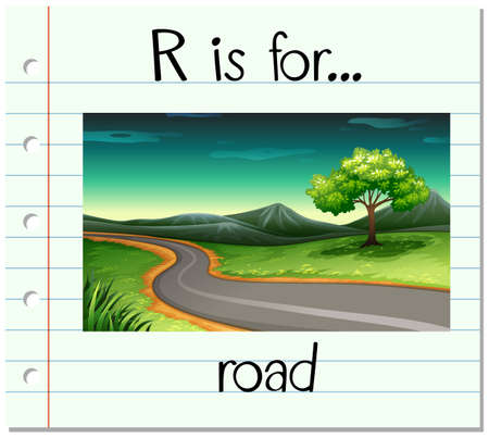 english countryside: Flashcard letter R is for road illustration