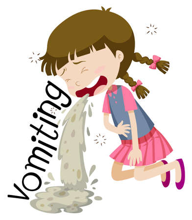 Girl vomiting and feeling sick illustration Illustration