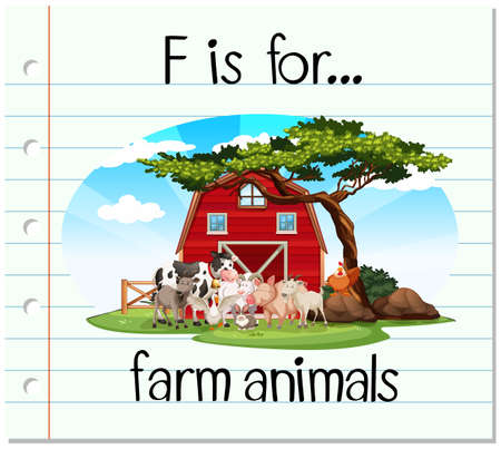 english countryside: Flashcard letter F is for farm animals illustration