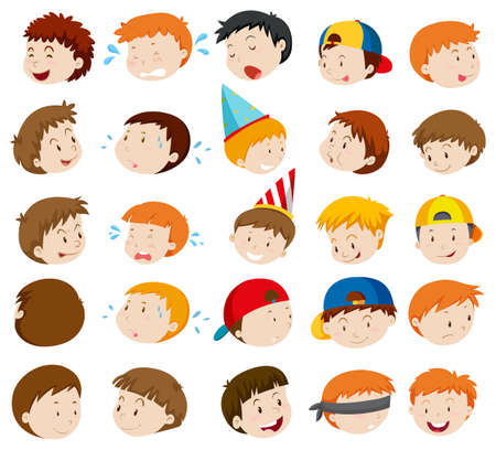 small group of objects: Facial expressions of boys illustration