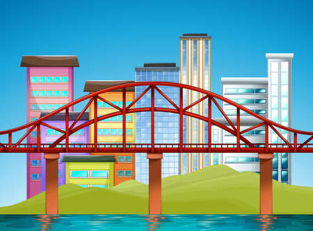 the city park: Scene with buildings and bridge illustration Illustration
