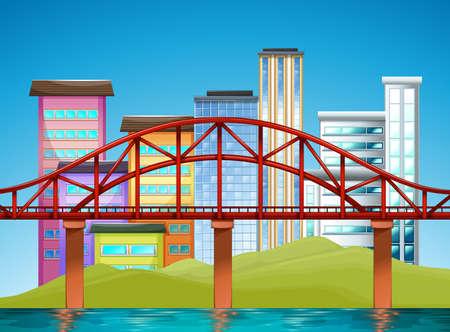 Scene with buildings and bridge illustration Illustration