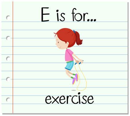 flash card: Flashcard letter E is for exercise illustration Illustration