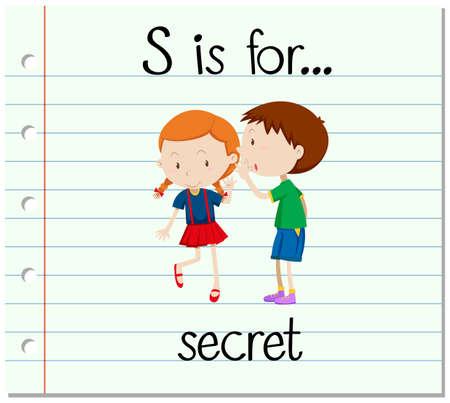 children s: Flashcard letter S is for secret illustration