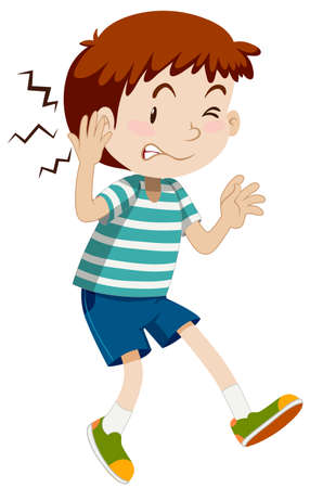 children clipart: Boy hurting his ear illustration