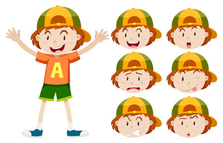 small group of object: Little boy with different facial expressions illustration