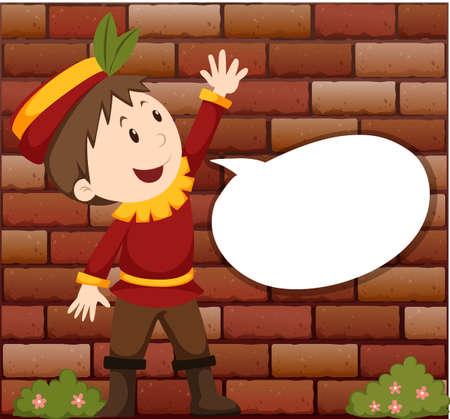 niños actuando: El niño pequeño con la ilustración de la burbuja del discurso Vectores