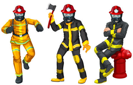 drawing safety: Fire fighters in uniform illustration