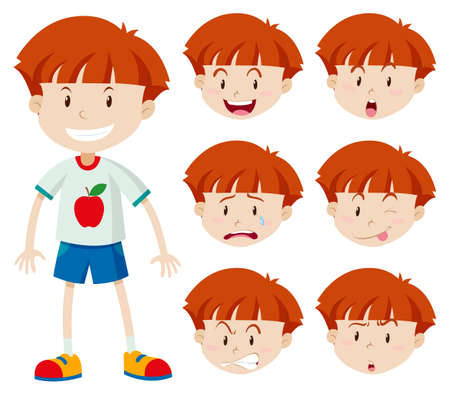 Cute boy with different facial expressions illustration  イラスト・ベクター素材