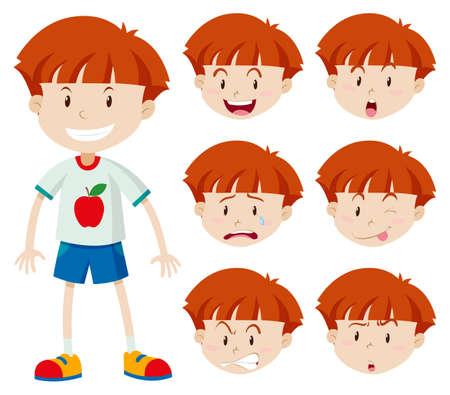 expresiones faciales: chico lindo con diferentes expresiones faciales ilustración