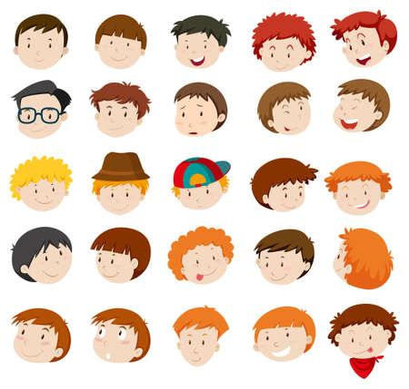 small group of objects: Facial expressions of boys and men illustration
