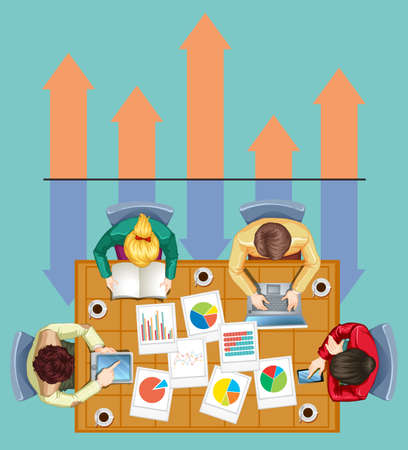 grown up: Infographic with business people and charts illustration
