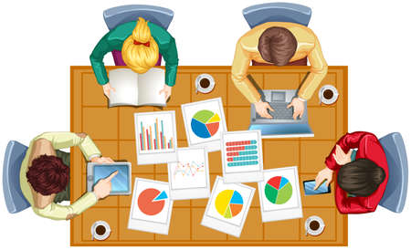 barchart: Top view of people working in team illustration