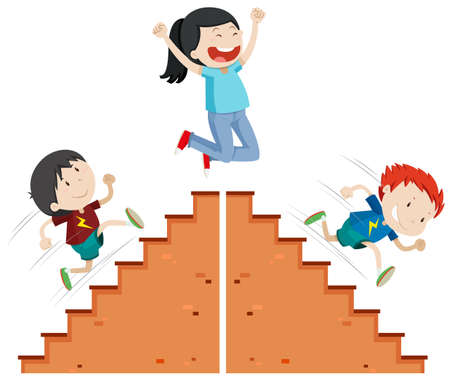 Boys running up and down the stairs illustration Illustration