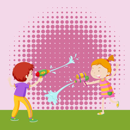 girl with gun: Boy and girl playing with water gun illustration