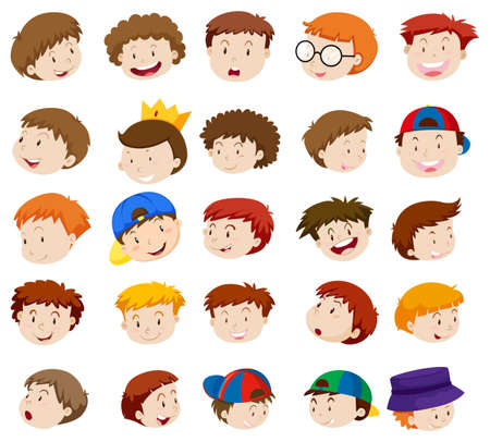 small group of objects: Different emotions of little boys illustration