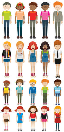 group of men: Different characters man and woman illustration Illustration