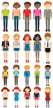 grupo de hombres: personajes diferentes hombre y mujer ilustración
