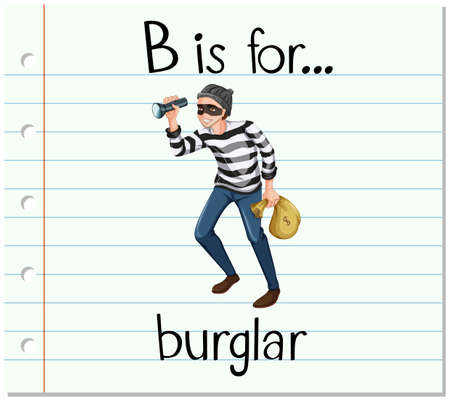 burglar: Flashcard letter B is for burglar illustration Illustration