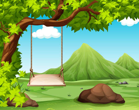 forest landscape: Nature scene with swing on the tree illustration