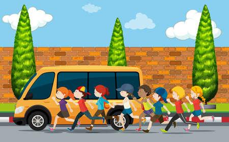 children running: Children running on the street illustration