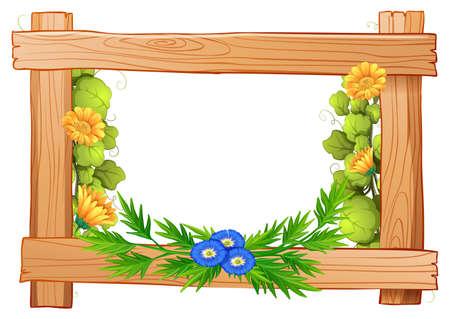 Houten frame met bloemen en bladeren illustratie