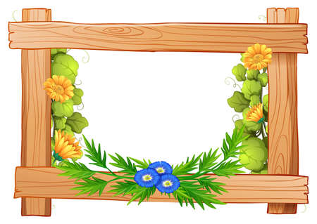 wooden frame: Wooden frame with flowers and leaves illustration