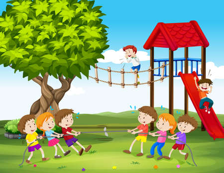 Children playing tug of war in the playground illustration