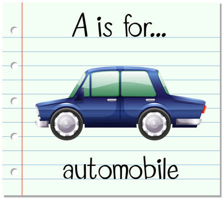 phonetics: Flashcard letter A is for automobile illustration