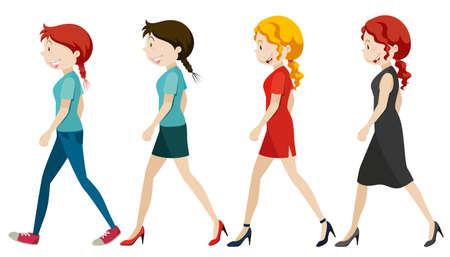 grownup: Women walking on white background illustration