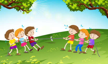 tug war: Boys and girls playing tug of war illustration