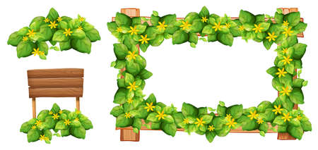 leaves frame: Frame design with flowers and leaves illustration