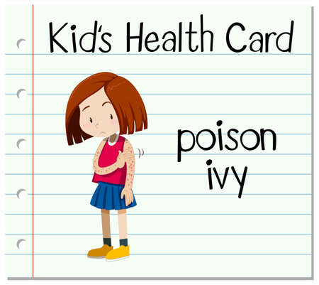 ivy: Health card with girl having poison ivy illustration