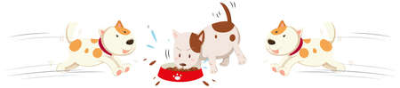 Dogs eating and running around illustration Illustration