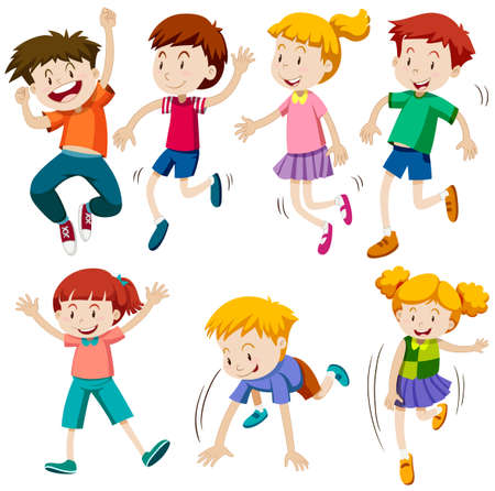 Los niños y niñas en diferentes acciones ilustración