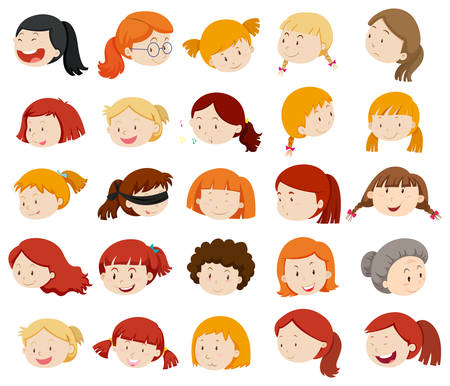 blind child: Girls and women faces illustration