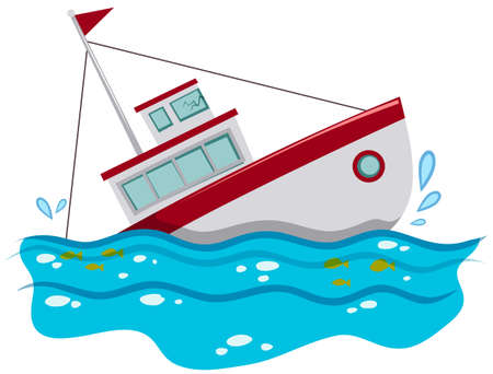Fishing boat sinking in the ocean illustration Illustration