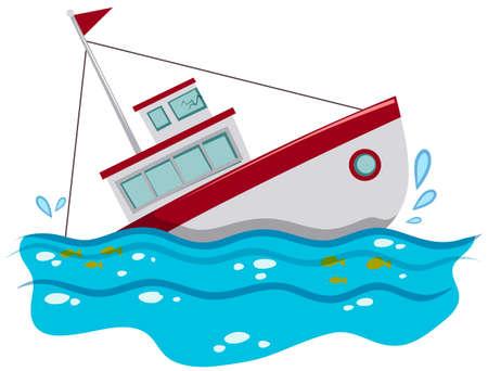 Vissersboot zinken in de oceaan illustratie Vector Illustratie