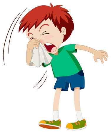 Little boy sneezing hard illustration Imagens - 53197380