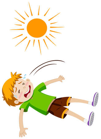 Boy feeling ill from heat stroke illustration Illustration