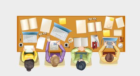 personas trabajando en oficina: Las personas que trabajan en el mostrador de la ilustración