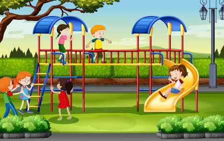children art: Boys and girls playing at the playground illustration