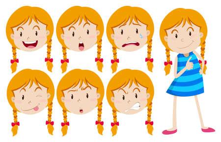 Chica con el pelo rubio con muchas expresiones faciales ilustración