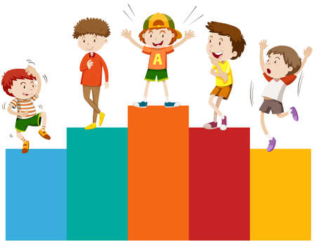 small group of object: Boys standing on barchart illustration Illustration