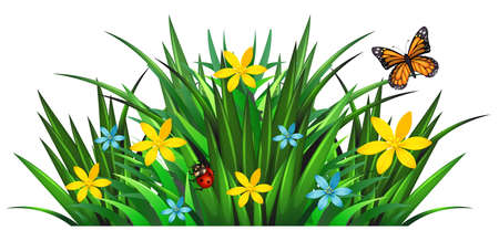 flower art: Bush with flowers and insects illustration Illustration